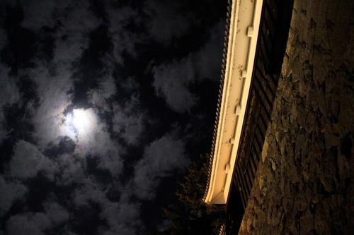 二の丸石垣と月